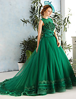 Formal Evening Dress-Dark Green Ball Gown Jewel Chapel Train Lace / Satin / Tulle