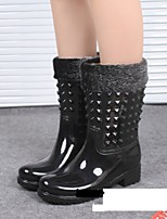Women's Shoes PVC Chunky Heel Rain Boots Heels Outdoor Black / Khaki