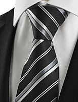 KissTies Men's New Striped Grey Black Microfiber Tie Necktie For Wedding Party With Gift Box