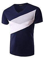 Men's Patchwork Casual T-Shirt,Rayon Short Sleeve-Blue / Green / Gray