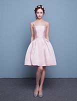 Short/Mini Satin Bridesmaid Dress-Candy Pink Fit & Flare Spaghetti Straps