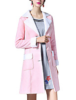 Women's Solid Pink / Green Coat,Simple Long Sleeve Polyester