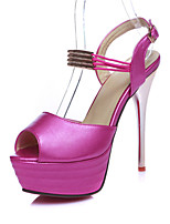 Women's Shoes Leatherette Stiletto Heel Heels / Peep Toe Sandals Wedding / Office & Career / Party & Evening  / Pink