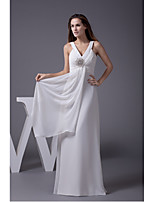 Formal Evening Dress-Ivory Sheath/Column V-neck Floor-length Chiffon