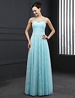 Formal Evening Dress - Sky Blue Sheath/Column Jewel Sweep/Brush Train Lace
