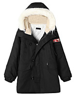 Women's Solid Red / Black / Green Padded Coat,Simple / Street chic Shirt Collar Long Sleeve