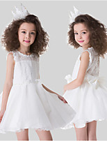 2016 Summer New Simple Style A-line White Lace Short Sleeveless Flower Girl Dresses