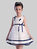 A-line Short/Mini Flower Girl Dress-Satin / Tulle / Polyester Sleeveless
