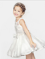 2016 New Style White Lace Splicing A-line Knee-length Flower Girl Dress