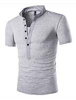 Men's Short Sleeve T-Shirt,Cotton / Polyester Casual / Sport Solid