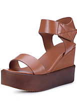Women's Shoes Leather Wedge Heel Wedges / Peep Toe / Platform / Slingback / Comfort Sandals Outdoor / Dress Black