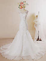 Trumpet/Mermaid Wedding Dress-Ivory Chapel Train V-neck Lace / Organza