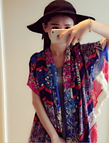 Women Bohemian National Wind Cotton Fringed  Print Super Scarf Beautiful Scarves