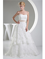 Sheath/Column Wedding Dress-Ivory Chapel Train Strapless Lace / Satin