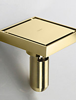 Square Shower Floor Drain with Tile Insert Grate Deep Style Gold Finish