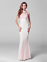 Formal Evening Dress-Blushing Pink Trumpet/Mermaid High Neck Floor-length Lace / Tulle
