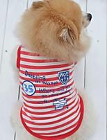 Perros Camiseta / Chaleco Rojo / Azul Verano / Primavera/Otoño Rayas / Letra y Número A Rayas / Moda-Lovoyager