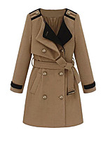 Women's Solid Blue / Brown Coat,Simple Long Sleeve Polyester