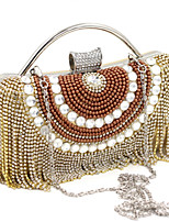 L.WEST® Women's Handmade High-grade Pearl Diamonds Tassel Party/Evening Bag