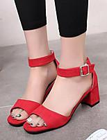 Chaussures Femme-Habillé / Décontracté-Noir / Rouge / Gris-Gros Talon-Bout Ouvert / Confort-Sandales-Daim