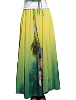Women's Print Blue / Green / Yellow Skirts,Holiday / Street chic Maxi