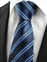KissTies Men's Classic Striped Dard Light Blue Microfiber Tie Necktie For Wedding Holiday With Gift Box