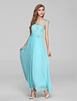 Formal Evening Dress-Ocean Blue Ball Gown Jewel Ankle-length Chiffon / Lace