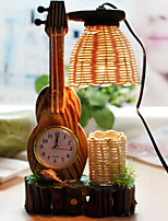 madera creativa del violín con la lámpara de la decoración envase de la pluma del reloj del escritorio de regalo lámpara del dormitorio