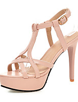 Women's Shoes Leatherette Stiletto Heel Heels Sandals Casual Black / Pink / White