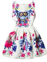 Girl's White Dress,Print Polyester Summer / Spring / Fall