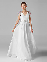 Formal Evening Dress-White Ball Gown V-neck Ankle-length Tulle / Sequined