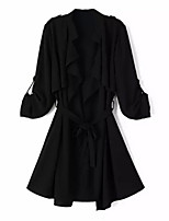 Women's Solid Black / Brown / Gray Trench Coat,Simple Long Sleeve Polyester