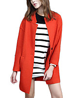 Women's Solid Pink / Orange Coat,Simple Long Sleeve Polyester