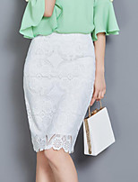 Women's Solid White Skirts,Sexy Knee-length