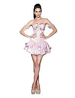 Women Bustier Bowknot Decor Waist Cincher Beads Corset,Lingerie Shaperwear Pink Short Sleeve