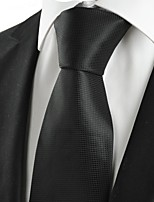 KissTies Men's Plain Black Microfiber Tie Necktie For Wedding Evening Funeral With Gift Box