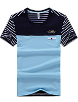 JISNEYMen's Short Sleeve T-Shirt,Cotton Casual / Work / Formal / Sport / Plus Sizes Print