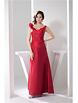 Formal Evening Dress-Burgundy A-line Straps Floor-length Taffeta