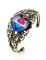 Lureme® Vintage Jewelry Time Gem Series Rainbow Heart Shape Antique Bronze Hollow Flower Open Bangle Bracelet for Women