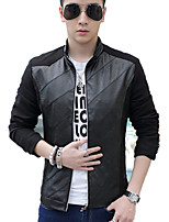 Men's Spring Autumn Korean PU Plus Sizes Pure Leisure Long Sleeve Jacket