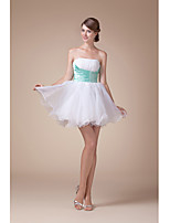 Cocktail Party Dress-Ivory A-line Strapless Short/Mini Organza