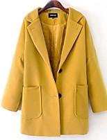 Women's Solid Black / Yellow Pea Coats,Plus Size Long Sleeve Wool