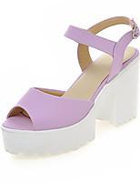 Calçados Femininos-Sandálias-Anabela-Salto Grosso-Azul / Rosa / Roxo / Branco-Courino-Casamento / Social / Casual / Festas & Noite