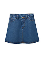 Mulheres Saias Mini Moda de Rua Poliéster Micro-Elástica Mulheres