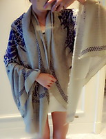 Chinese Dragon Totem Style White Printed Cotton Twill Scarf National Wind Shawls Scarf