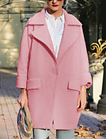 Women's Pink Coat,Simple Long Sleeve Wool