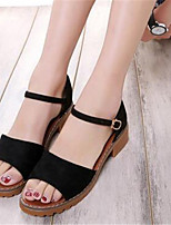 Women's Shoes Synthetic Chunky Heel Peep Toe Sandals Outdoor / Casual Black / White / Gray
