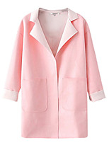 Women's Solid Pink Coat,Simple / Street chic Long Sleeve PU