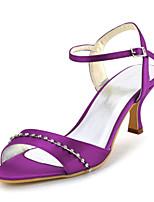 Chaussures Femme-Mariage / Habillé / Soirée & Evénement-Violet / Rouge / Bleu royal-Talon Aiguille-Talons / Bout Ouvert-Sandales-Satin
