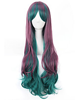 моды дамы зеленого до фиолетового цвета партии Cosplay длинные вьющиеся волнистые синтетические парики